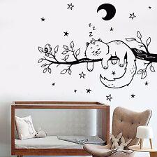 Vinyl Wall Decal Cat Bird Tree Branch Night Stars Nursery Moon Stickers (741ig)