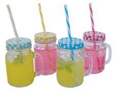 12 X MASON JAM JAR GLASSES WITH HANDLE LID STRAW DRINK GLASS DRINKING 500ML
