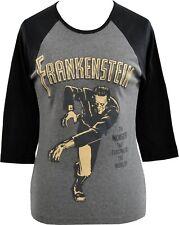 WOMENS 3/4 SLEEVE GREY BASEBALL T-SHIRT FRANKENSTEINS  MONSTER VINTAGE HORROR