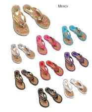 Women T Strap Chain Flip Flop Sandals Flats Summer Shoes Kali MERCY