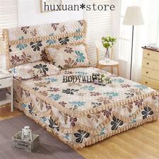 Sheet Pillowcase Set 3pcs/set 100% Cotton Bed Skirt+2 Pillowcase Padded Cover