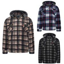 Mens Winter Fleeced Checked Warm Sherpa Shirt Hooded Lumberjack Jacket Size M-2X