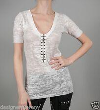 Stella & Jamie Rock Top T-Shirt Sheer White size Medium