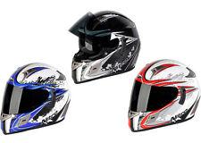 NITRO NSFP ALIEN DUAL VISOR MOTORCYCLE MOTORBIKE CRASH HELMET RED BLACK BLUE