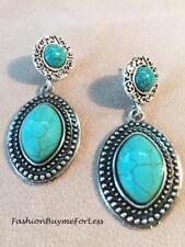 Antique Silver Dot Double Tibetan Turquoise Gemstone Oval Drop Dangle Earring
