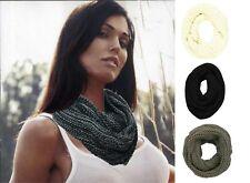 New Infinity Tube Scarf Black Cream Beige Grey Mix Chunky Knit Twist Double Loop