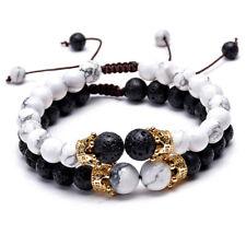2Pcs Double Crown Couples Bracelet Lava Stone Essential Oil Stretch Beads Gift