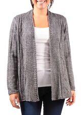 KIM ROGERS® M, L Gray Pointelle Cardigan Sweater NWT $54