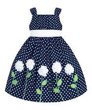 Girls 6 Navy Blue White Polka Dot Flowers Fancy Party Easter Dress Sundress