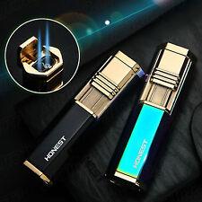 Black Metal Cigar Cigarette Lighter 2 Torch Jet Flame With underside Punch