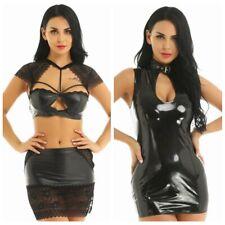 Sexy Women Wet Look Leather Lace Mini Bodycon Dress Crop Top Babydoll Nightwear