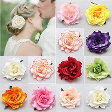 Big Blooming Rose Flower Wedding Bridal Hair Clip headpiece Brooch Pin BH