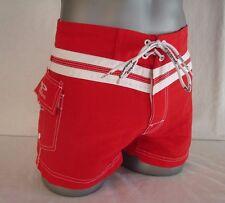 NEW Red POORBOY 100% Nylon Boy's or Men's Shorter Style Swim Board Shorts NWT