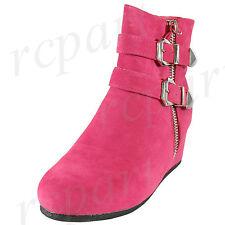 New girl's kids side zipper boots winter fuchsia hot pink wedge comfort
