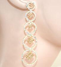 ORECCHINI ORO AMBRA BOREALE strass pendenti cerchi donna cristalli eleganti L15