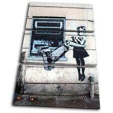 Banksy Street Cash Machine TREBLE CANVAS WALL ART Picture Print VA