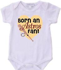 Born a Houston Astros Baseball Fan Baby Bodysuit New Gift Choose Size & Color