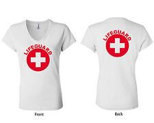 Bella White Ladies Short Sleeve V-Neck Lifeguard T-Shirt, Sizes S-2XL (W6005LG)