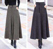Ladies Woolen Long Skirts Women High Waist Wool Long A Line Skirt Winter Fashion