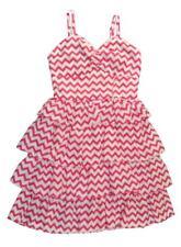 Chillipop Big Girls Pink & White Tier Ruffled Dress Size 10/12