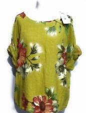 Italian Cotton Linen  Top Floral Print Tunic Lagenlook Plus Size Women