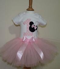 1st First Birthday girl minnie mouse tutu set, Birthday bodysuit and tutu