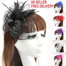 Beaded Feather Hair Fascinator Hair Clip Headband Mess Wedding Royal Races