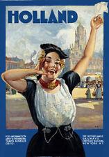 TA40 Vintage Holland Netherlands Dutch Railways Travel Poster Re-Print A4