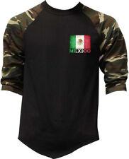 Men's Mexico Flag Chest Baseball Raglan T Shirt Mexican Aztec Mayan Soccer Team