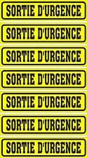 LOT DE 7 AUTOCOLLANTS LUSTRÉ, SORTIE D'URGENCE,POUR INTÉRIEUR OU EXTÉRIEUR