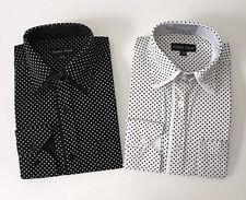 Men's Classic Polka Dot Design Dress Shirt Aqua Black Brown Tan 151/2~201/2