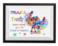 Uhomate Lilo and Stitch Ohana Means Family Art Print Nursery Wall Decor C002