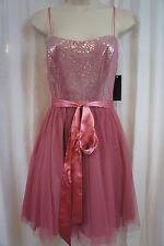 Aqua Dresses Dress Sz 2 Rose Spaghetti Strap Sequin Tulle Evening Party Dress