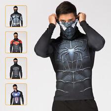 Compression top gym superhero crossfit marvel cosplay high quality lapel collar