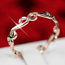 18K PLAIN Rose Gold GF R129 FILIGREE ENGAGEMENT WEDDING LADIES SOLID BAND RINGS
