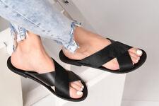 Ancient Greek black flat real leather slide sandals handmade pony hair strap