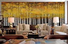 3D Yellow Birch Forest 12 Wallpaper Decal Decor Home Kids Nursery Mural  Home