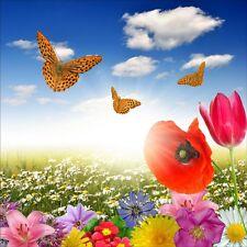 Stickers muraux déco : champ de fleurs papillons 1211