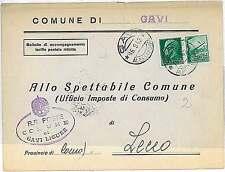 ITALIA RSI : SERIE PROPAGANDA su BUSTA COMUNALE: GAVI - 1942