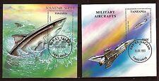 PR175 TANZANIE superbes blocs 1993 La mer:Requins et le Ciel: avions de chasse
