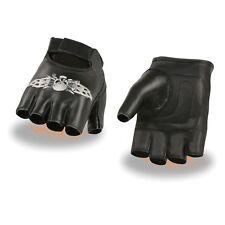 Milwaukee Leather Men's Fingerless Gloves With Skull & Bones Embroidery **SH353
