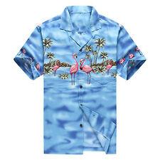 Made in Hawaii Men Hawaiian Aloha Shirt Luau Beach Cruise Pink Flamingos Blue
