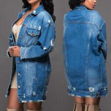 NEW Women Jeans Demin Coats Long Sleeve Oversize Jacket Open Candigan Streetwear