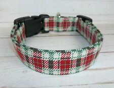 Red Green Cream Plaid Terri's Dog Collar handmade adjustable Christmas Holiday