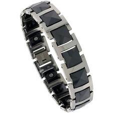 Tungsten Carbide & Ceramic Magnetic Bracelet w/ Triangular Faceted Cushion Links