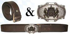 Trachten Wechselgürtel Ledergürtel braun-antik  2-farbige Schließe Bayernwappen