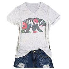 Women Summer Mama Bear Floral Printed Short Sleeve V-Neck T-Shirt Shirt Tops