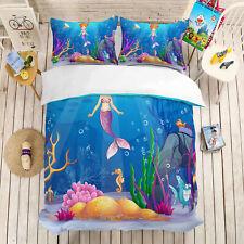 3D Colorful Mermaid Bedding Set Duvet Cover Comforter Cover Pillow Case