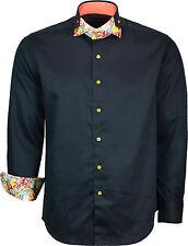 Mens Designer Italian Shirt Slim Fit Long Sleeves Casual Shirts Double Collar