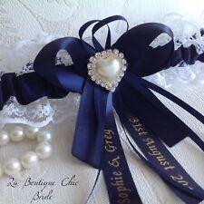 XS S M L XL Personalizzata Nuziale Sposa Giarrettiera Bianco Pizzo Raso Blu  Pearl f2b67f35f2c8